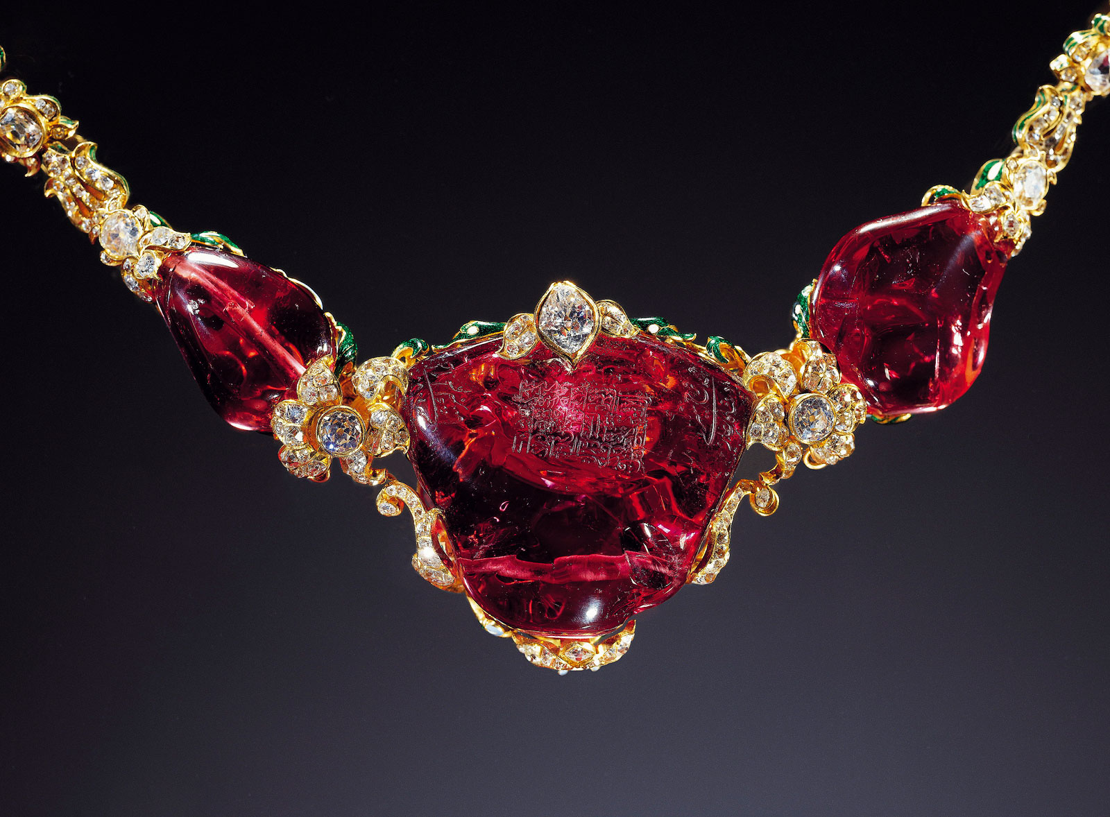 The Timur Ruby. Currently in the private collection of the British Queen, the idea that it was once in the possession of Timur has now been debunked (Stronge, 1996).