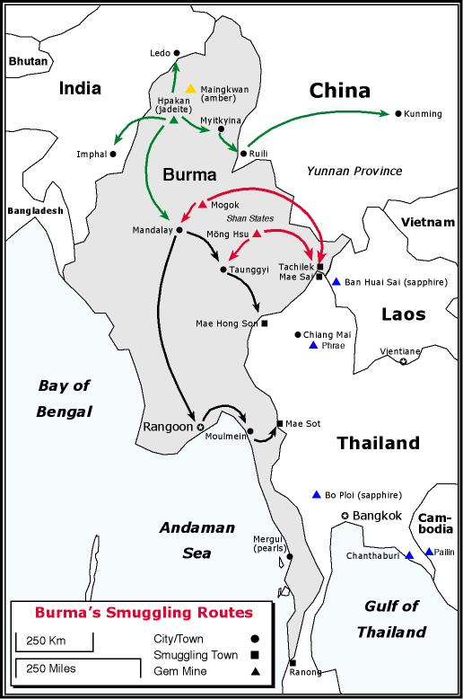 map of Burma showing gem smuggling routes