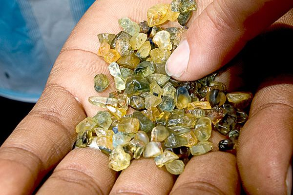 Rough sapphire from Ambondromifehy in northern Madagascar