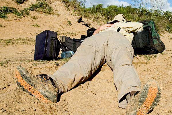 Richard Hughes taking a break on the trail to Moramanga