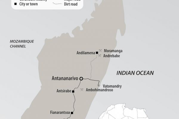 Map of Madagascar, showing the major ruby & sapphire mines