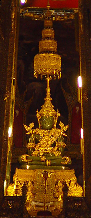 A close up of the Emerald Buddha in summer attire. Photo: Wikipedia