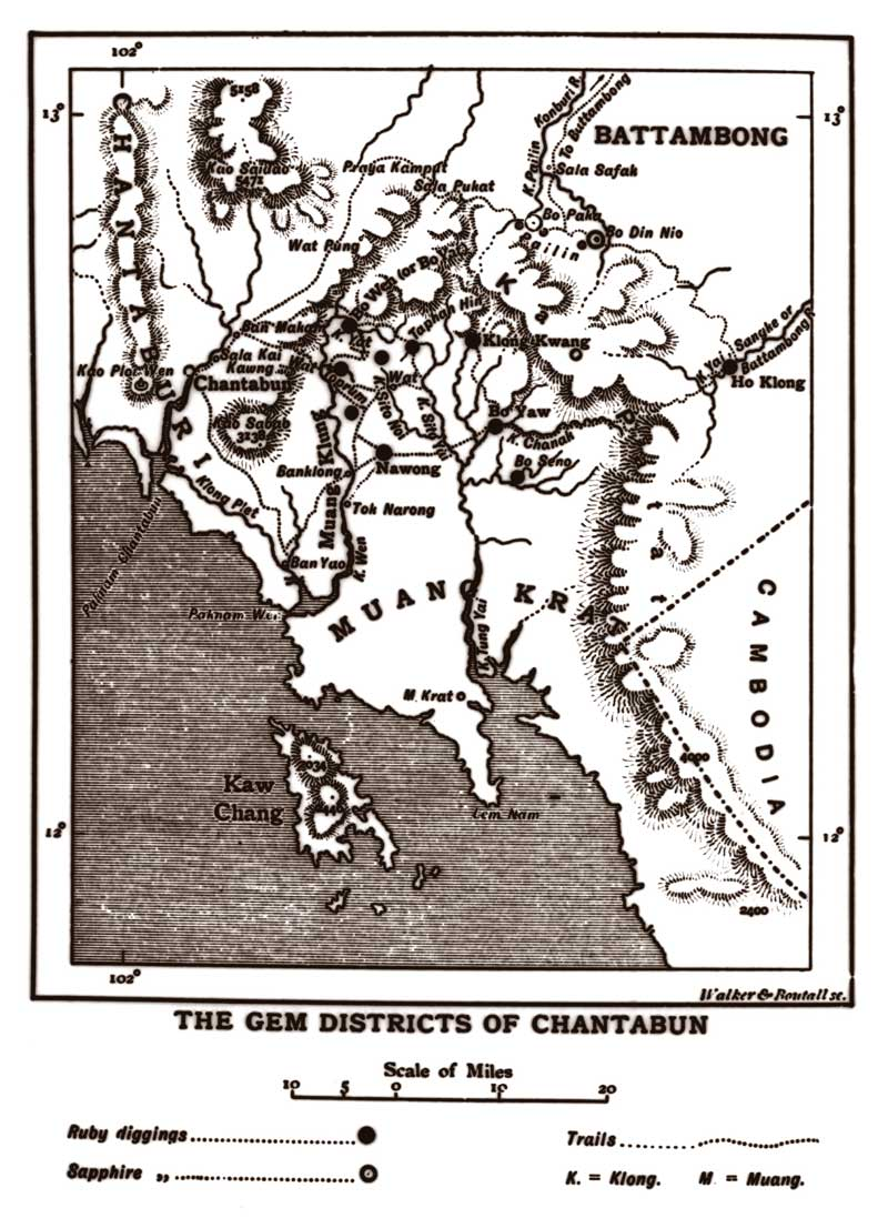 Map of Chantabun (Chanthaburi). From Smyth (1898) Five Years in Siam—From 1891 to 1896.