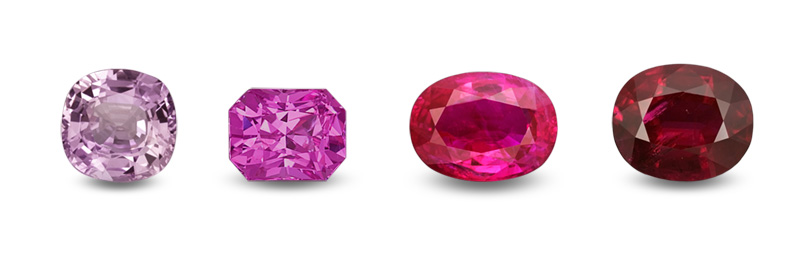 Four corundums of the same hue (red), but showing a variation in saturation and tone. Most gem dealers would classify stones 3 and 4 as rubies, while stone 1 would be a pink sapphire. Stone 2 walks the line, a ruby to some, while a mere pink sapphire to others. This clearly illustrates the problems created by overly narrow variety definitions.