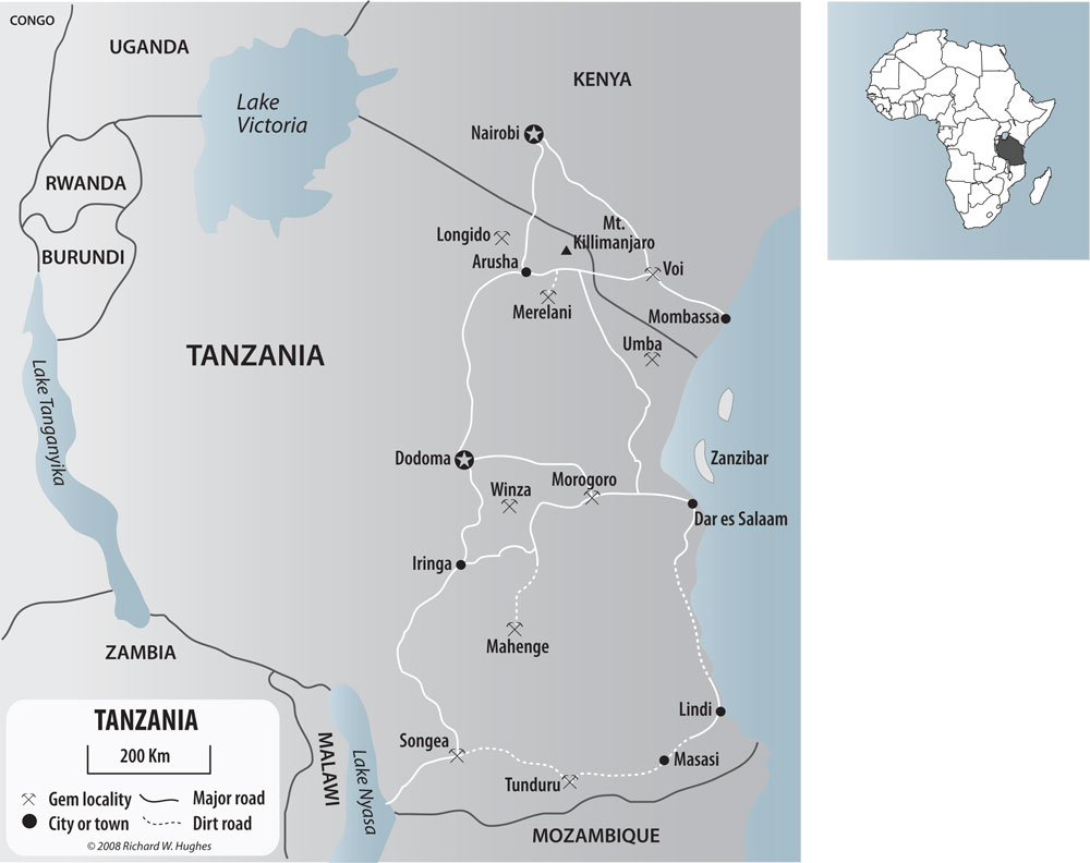 Map of Tanzania with major mines shown