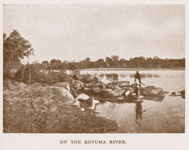 Early 20th century photo of the Ruvuma ('Rovuma') river. Despite the passage of nearly a century, little has changed. From Calvert (1917), from the William Larson Collection