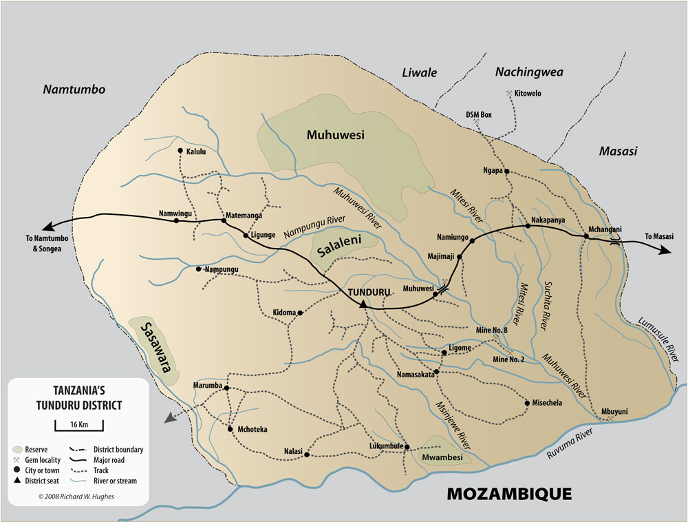 Map of the Tunduru region, showing the major mining districts. Lotus Gemology.