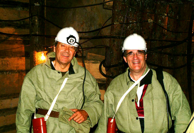 Helmut Swarovski (left) and Warren Boyd (right) underground at Malysheva. Photo: Warren Boyd