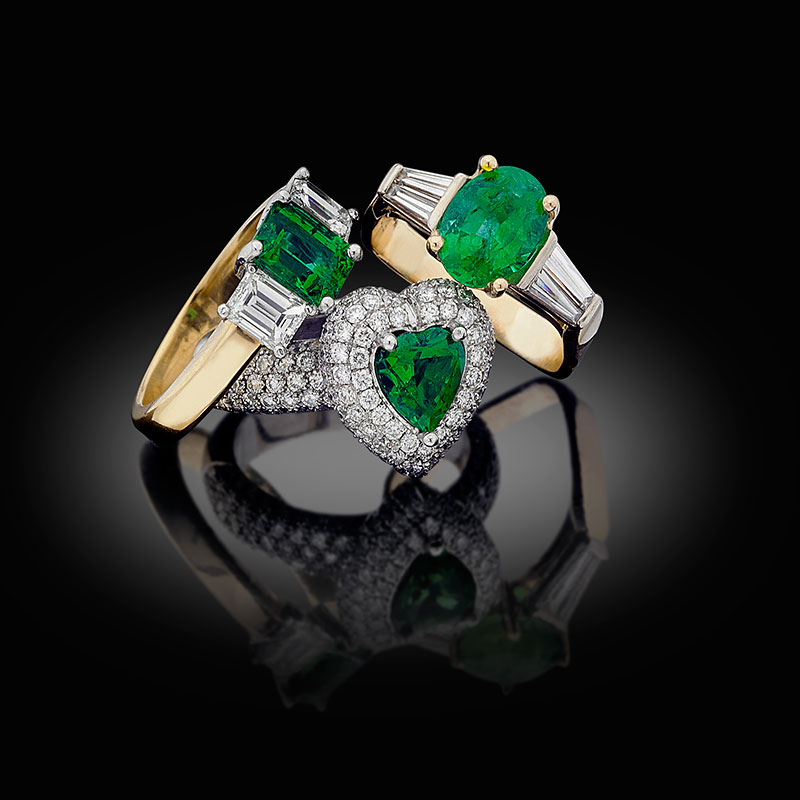 Three Russian emerald rings, showing the quality that made them among the most coveted in the world. Photo courtesy of Warren Boyd/Tsar Emeralds Corp.