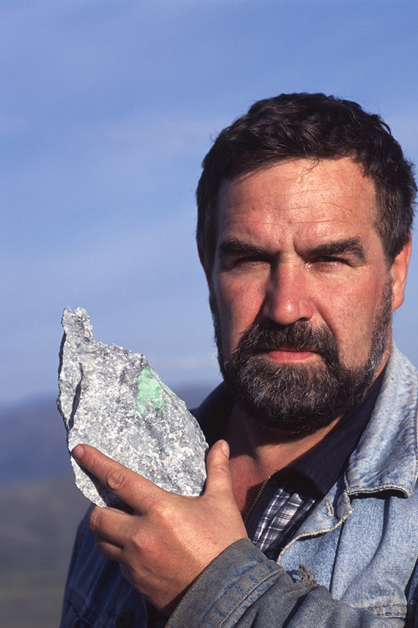 Geologist Sergei Mikheev, with a piece of Polar jadeite. After ten years of looking Sergei discovered the first piece of jadeite in the Polar Urals.