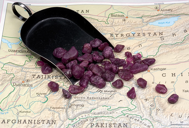 Rough ruby reputed to be from Tajikistan. It was this material which set the authors off on their quest for the source. Photo © Wimon Manorotkul/Pala International
