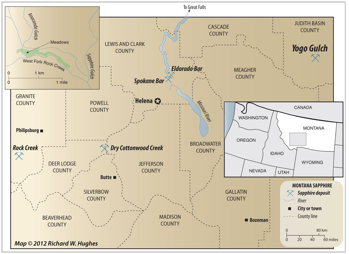 Map of central Montana showing the location of the Yogo mine